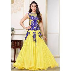 Karishma Kapoor Yellow Georgette Anarkali Salwar Suit at just Rs.1350/- on www.vendorvilla.com. Cash on Delivery, Easy Returns, Lowest Price.