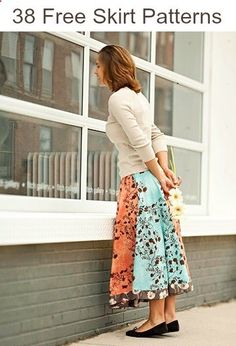 38 Free Skirt Patterns -  LIke this skirt colors, mixing materials and trim