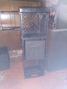 Milk crate storage with leather