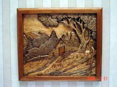 Barn Silo Relief Carving by Clocksandwoodart on Etsy, $595.00