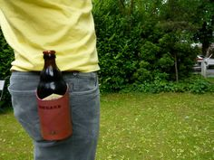 Leather beer drink holster by quickdrawleather on Etsy