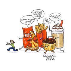 No.102 Junkfood / Illustration / Daily Doodle - Art Print #dailydoodle #doodle #sketch #drawing #art #illustration #junkfood #pizza #fries #cupcake #milkshake #chips #run #food