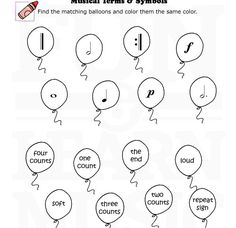 Musical Terms and Symbols Elementary Music Lessons, Music Lessons For Kids, Music Lesson Plans, Music For Kids, Piano Lessons, Music Terms, Easy Sheet Music, Music Theory Worksheets, Music Symbols