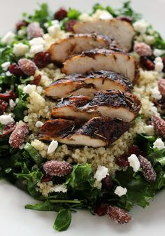 Balsamic chicken & kale salad with goat cheese