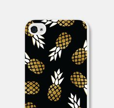 Black and Gold Pineapple iPhone 5c Case  Pineapple by fieldtrip