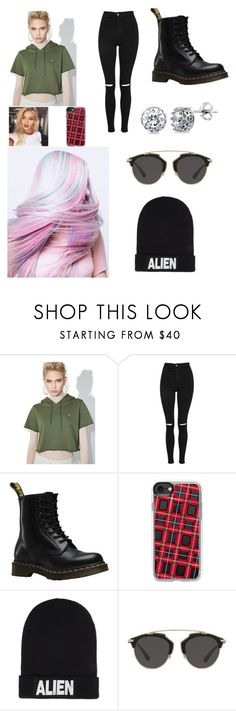 """""""Untitled #3908"""" by sammisaurusrex ❤ liked on Polyvore featuring Diamond Supply Co., Topshop, Dr. Martens, Casetify, Nicopanda, Christian Dior and BERRICLE"""