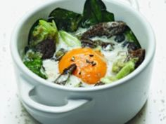 Oeufs en cocotte with morels Cocotte Recipe, Alain Ducasse, Types Of White Wine, Take The Cannoli, Wine Making, Entrees, Stuffed Mushrooms, Food And Drink