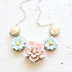 Silver, Blush and Aqua Garden Party Flower Necklace, Silver or Gold Filled Flower Necklace