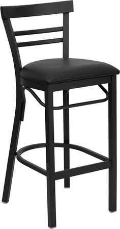 Stools for bar area. One to be ordered counter height.  18-Gauge Steel Bar Stool with Ladder Style Back: Black Vinyl Upholstered Seat 2.5'' Thick 1.4 Density Foam Padded Seat CA117 Fire Retardant Foam Welded Joint Assembly Two Curved Support Bars Foot Rest Rung Black Powder Coat Frame Finish Plastic Floor Glides Designed for Commercial Use Great for steak houses, restaurants, and bars! Item