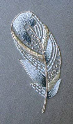 Metalwork Feather - Royal School of Needlework.