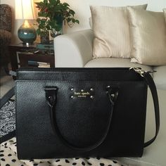 Kate Spade Black Leather Wellesely Satchel Black Leather Satchel by Kate spade it's so lovely! Front pocket is huge..with magnetic closure. The purse has a full zippered top and inside there's another zippered pocket. Quite roomy. Holds large Neda wallets, and makeup bags. Lovely all year round 12.5 x 9.5 x 6 & 22 inch strap drop. Two way purse with double handle & long adjustable shoulder strap. kate spade Bags Satchels