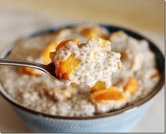 roasted peach and ginger chia pudding - vegan