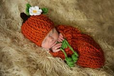 Crochet Newborn Baby Boy or Girl Mommy's Lil' Pumpkin Hat and Swaddle Sack Set, Custom, Handmade, Photo Prop, Shower Gift, Halloween Costume