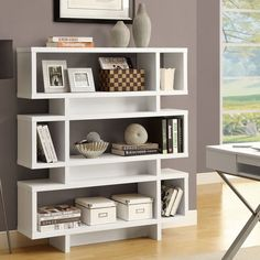 Monarch Hollow-Core 55 in. Modern Bookcase - White - The Monarch Hollow-Core 55 in. Modern Bookcase - White has a unique open design. Great for the living room or bedroom to store books and display your. Modern Bookshelf, Bookshelf Design, Modern Shelving, Bookshelf Ideas, Bookcase Styling, Decorating Bookshelves, Bookcase Storage, Closet Shelves, Small Living