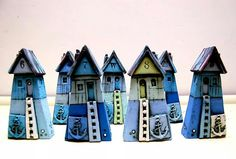 Small Ceramic Houses Miniature Houses Colorful Unique