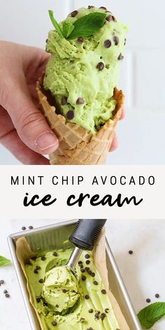 · This Mint Chip Avocado Ice Cream is made with only six ingredients and doesn't require an ice cream maker! It's also diary-free, gluten-free, vegan and paleo-friendly. #eatingbirdfood #ehvoilaaa #glutenfree #dairyfree #videorecipe #paleo #diet #nutrition #healthyrecipes #healthy #healthyfood