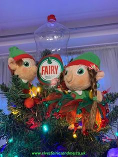 The elves replaced the fairy on the top of our tree with a fairy washing up liquid bottle. The Elf, Elf On The Shelf, Woodland Elf, Father Christmas, Magical Creatures, Family Traditions, Tree Toppers, Easter Bunny, Elves