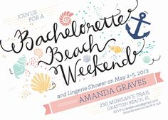 Bachelorette Beach Invitations