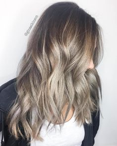 40 Ash Blonde Hair Looks You'll Swoon Over Brown Choppy Hair With Ash Blonde Balayage Balayage Hair Ash, Ash Hair, Ash Blonde Hair, Hair Highlights, Chunky Highlights, Caramel Balayage, Caramel Highlights, Color Highlights, Blonde Brunette