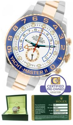 Mint Men's Rolex Yacht-Master II 44mm Watch  Collectors Brand Rolex (Guaranteed Authentic) Model Yacht-Master II Reference Number 116681 Serial Number Scrambl