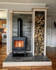 This is probably my favorite house project to date. Dave and I bought ourselves a wood stove for Christmas. It took me 3 weekends to build… Wood Stove Surround, Wood Stove Hearth, Stove Fireplace, Wood Stove Wall, Wood Stove Decor, Corner Wood Stove, Tiny House Wood Stove, Home Projects, Garden Projects