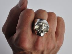 Chunky Top Jaw Silver Skull Ring by Thenineofhearts on Etsy