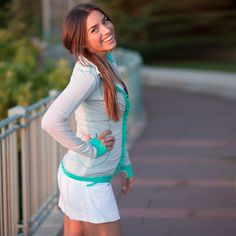 Maybe this will give me motivation to work out!! Albion Fit #workoutgear The Sweet Stripe Full Zip, Seafoam / Grey