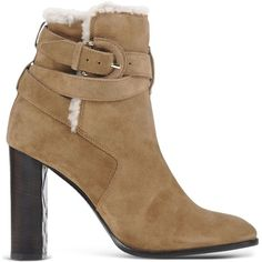 Burberry Ankle Boots ($995) ❤ liked on Polyvore featuring shoes, boots, ankle booties, khaki, short boots, buckle booties, ankle boots, round toe ankle boots and fur booties
