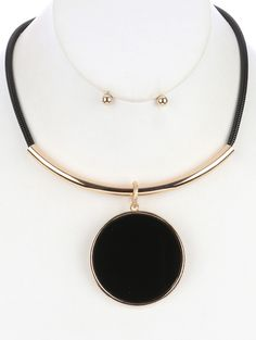 Arabella Ave by Tina  http://www.arabellaave.com/?a_aid=TinaGowans   ROUND GLASS STONE PENDANT BIB NECKLACE AND EARRING SET $16.95 Available in black, red, blue and white 14 inches long 2 3/4 inch drop Nickel and lead compliant