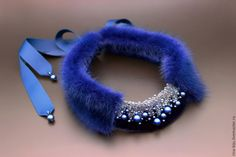Necklaces & Beads handmade. Choker collar 'Blue Nebula'. A - jewelry design. My Livemaster.Necklace with fur