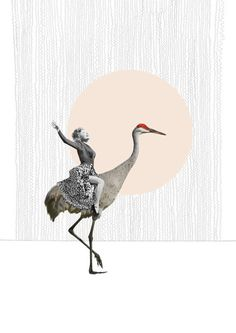 Bird-riding ladies and long-legged flamingos by the very talented Alexandra Ethell, on the blog today! http://www.artisticmoods.com/alexandra-ethell/