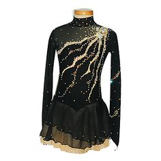 Girl's Black Pattern Spandex Figure Skating Dress(Assorted Size) - GBP £ 118.06
