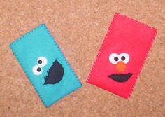 sesame street mobile phone felt case Fleece Crafts, Felt Crafts Diy, Felt Diy, Decor Crafts, Felt Phone Cases, Felt Case, Felt Pouch, Cellphone Case, Elmo