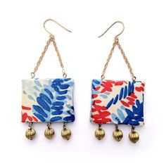 bright and colorful navy and red fabric earrings with brass beads