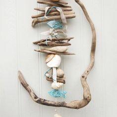 Twisted Driftwood, Shell and Fish hanging - driftwood wall art - driftwood beach decor - fish art