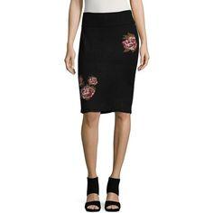 Vero Moda Women's Ribbed Skirt ($55) ❤ liked on Polyvore featuring skirts, black, flower print skirt, ribbed pencil skirt, floral print skirt, flower print pencil skirt and pencil skirt