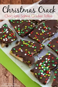 AKA Christmas Crack! 1 sleeve saltine cracker 1 cup brown sugar 1 cup butter 2 cups chocolate chips Sprinkles Check out the instructions HERE