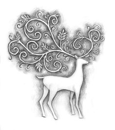 would be gorgeous worked in silver on a deep blue or forest green bed spread Deer Drawing, Wiccan Decor, Hungarian Embroidery, Zentangle Patterns, Winter Scenes, Spirit Animal, Painted Rocks, Folk Art, Paper Art