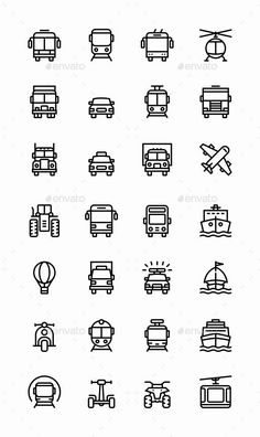 c5fd9c9e5aa4d2 Transport - Vehicle - Truck and Car Simple Vector Icons for Web and Mobile  Design Set