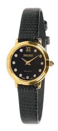 Pedre Women's Classic Petite Gold-Tone Leather Strap Watch # 6247GX Pedre. $24.95
