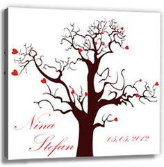 Fingerabdrücke der Hochzeitsgäste auf Leinwand - das völlig neue Gästebuch auf Leinwand als Hochzeitsbaum (fingerprint tree) - Hochzeitsspiel und -geschenk