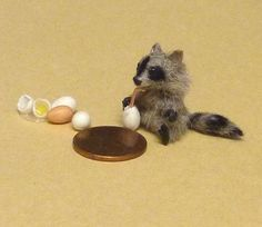 Mini Menagerie- tiny racoon sippin on some eggs lol