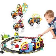 69PCS Magnetic Building Blocks Track Designer Construction Educational model build kits Toys Creative Bricks Magnetic Track #Affiliate