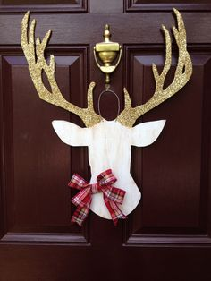 Deer Head Wall Mount, Southern Wedding, Christmas Wreath, Deer Head Christmas, Deer Head Decor, Deer Head Door Hanger, The Gilded Polka Dot by TheGildedPolkaDot on Etsy https://www.etsy.com/listing/236908674/deer-head-wall-mount-southern-wedding