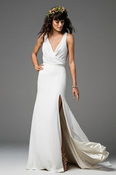 """""""Meredie"""" V-Neck Dress with High Slit 