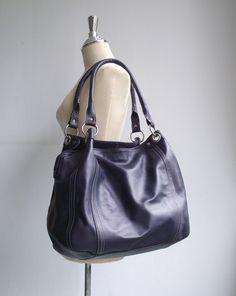 Light navy blue leather handbag / shoulder bag / by artoncrafts, $145.00