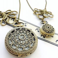 His and Hers Pocket Watch necklace octopus by Victorianstudio, $38.99