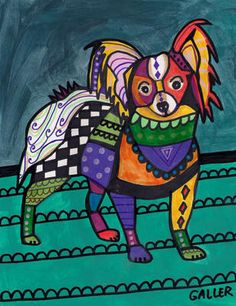 Papillon ART Continental Toy Spaniel Dog Art Poster Print Painting Folk Pop Art