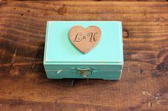 personlized tiffany blue wedding ring bearer box . soul mates wedding heart keepsake box . rustic distressed wooden wedding box