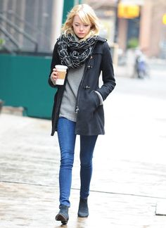 skinnies, long and rounded sweater, scarf, long and cute coat